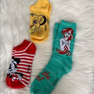 Disney socks womens/teen Ariel Mickey & Zimba
